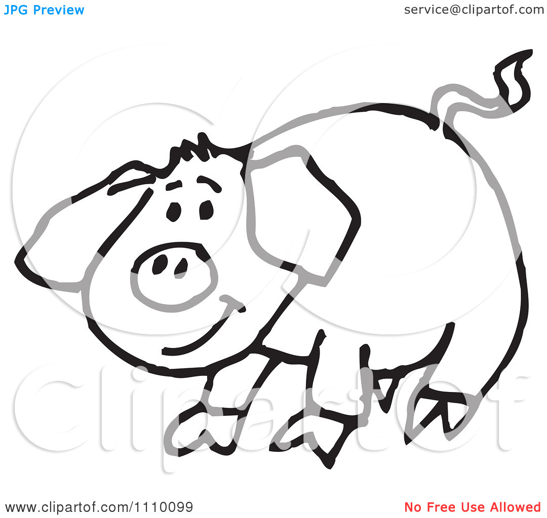 clipart pig black and white - photo #47