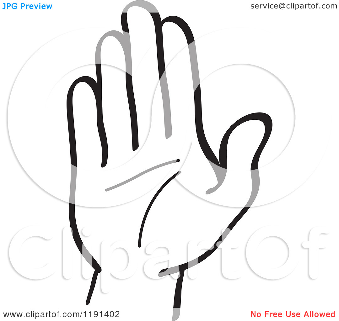 Clipart Hand Clipart Of A Black And White Hand Gesturing Stop Royalty