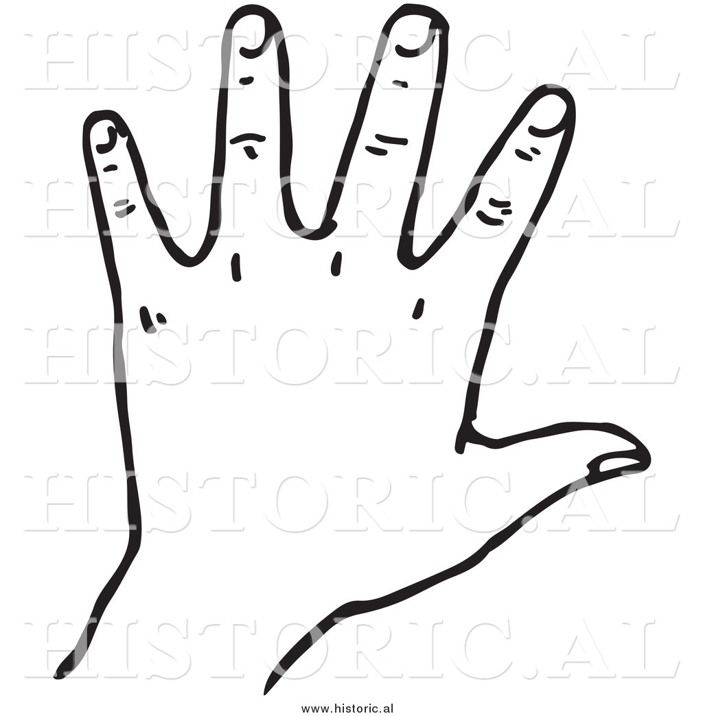 Clipart Hand Clipart Of A Left Hand Black And White Line Art By Al