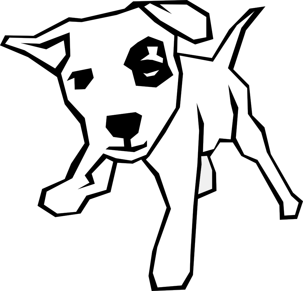 Cute Dog Black And White Clipart - Clipart Kid