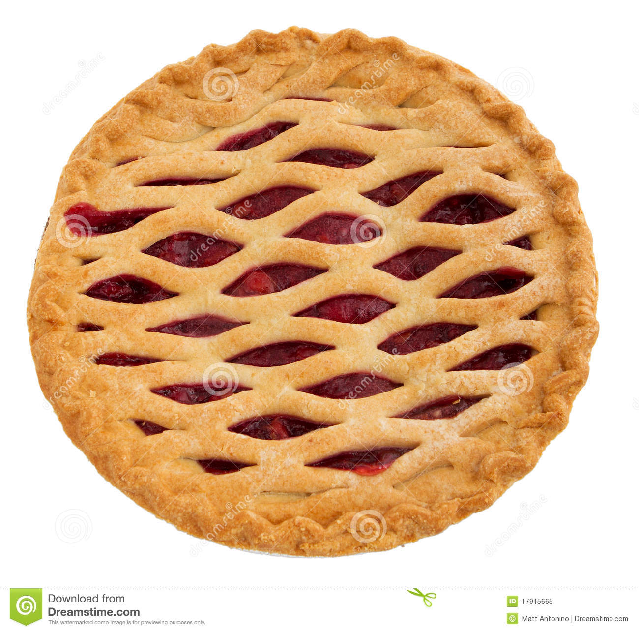 One Whole Cherry Pie Over White  Top Down View