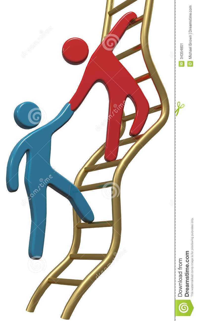Person Helping Friend Or Partner Join To Climb Up The Golden Ladder Of