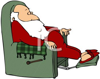 Reclining In His Chair Taking A Nap In A Vector Clip Art Illustration