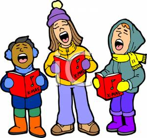 Singing Christmas Carols Out Of A Song Book   Royalty Free Clipart