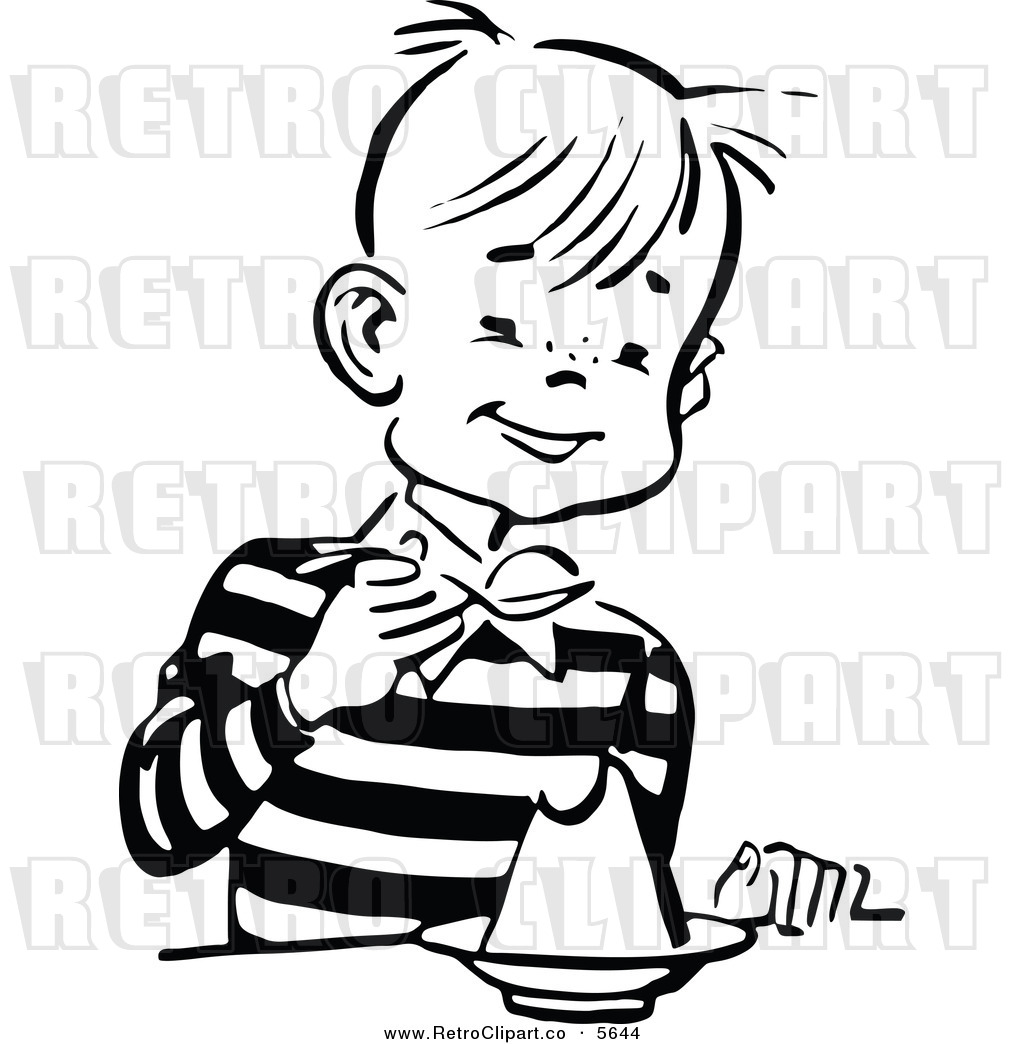 Vector Clipart Of A Retro Black And White Boy Eating Gelatin Dessert