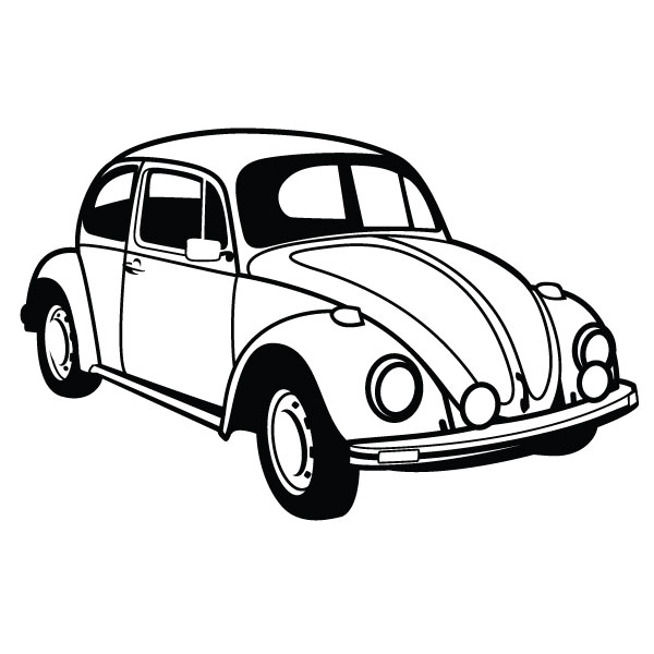 Vw Bug Clipart Black And White Vw Beetle Car Vector   Clipart