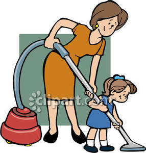 Woman Helping A Girl Vacuum Royalty Free Clipart Picture
