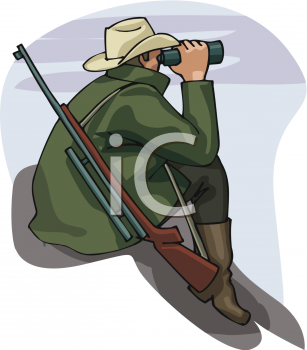 0810 2715 0512 Hunter Looking Through Binoculars Clipart Image Jpg