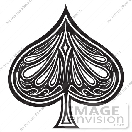 Black And White Cartoon Clip Art Of A Black Spade On A Playing Card