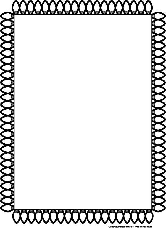 Black And White School Border Clip Art Christmas Lights Border Wide Bw