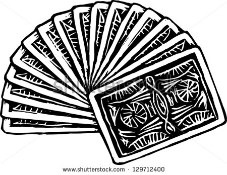 Black And White Vector Illustration Of Fanned Deck Of Playing Cards