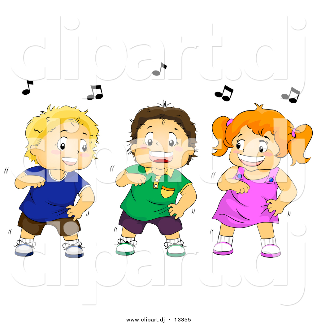 Cartoon Vector Clipart Of A Happy Girl Dancing With Two Boys By Bnp