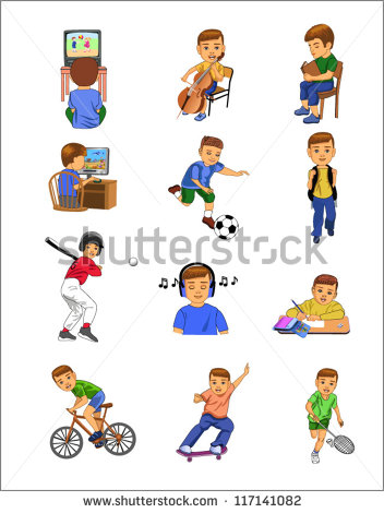 Child Doing Different Activities Stock Vector Illustration 117141082