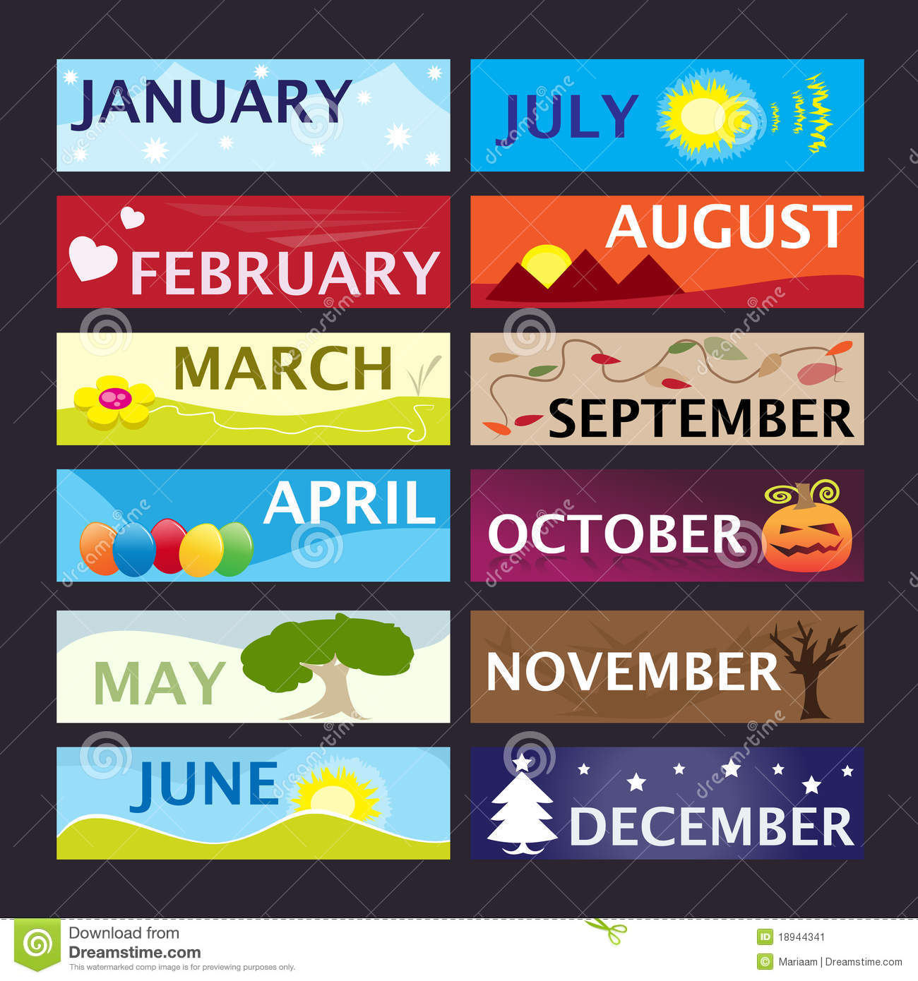 Colorful Banner Set With The 12 Months Of The Year