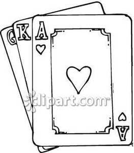 Black and white playing cards clipart clipart suggest for Playing cards coloring pages