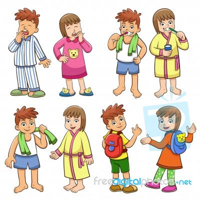 Illustration Of Boy And Girl Daily Morning Life Stock Image   Royalty