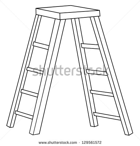 Ladder Clipart Black And White Black Outline Vector Staircase