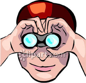 Looking Through Binoculars Clipart