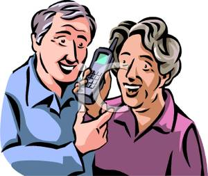 Of Grandparents Talking On The Phone   Royalty Free Clipart Picture