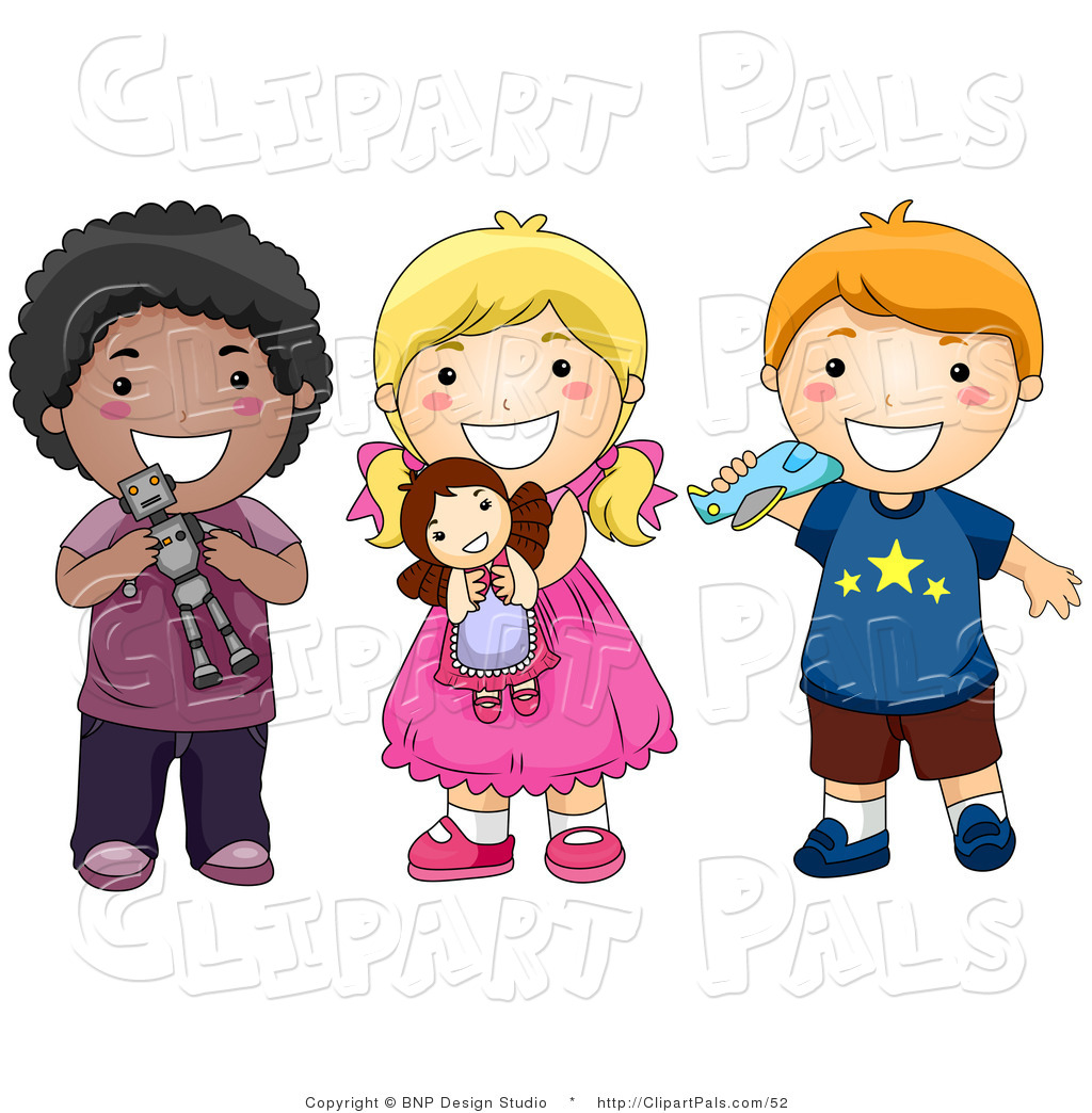 Pal Clipart Of A Group Of Three Diverse Children Playing With Toys And