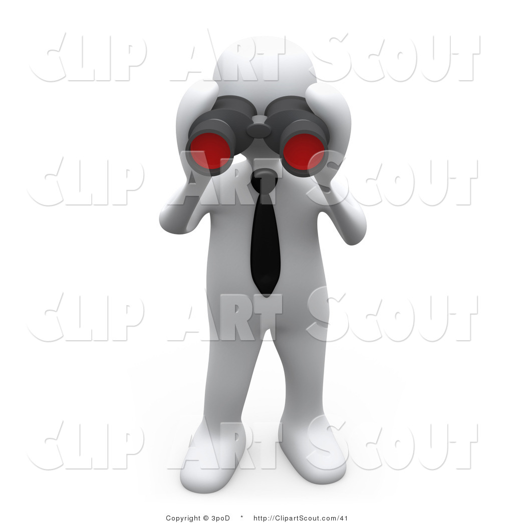 Person Looking Through Binoculars Clipart Clipart Of A 3d White Person