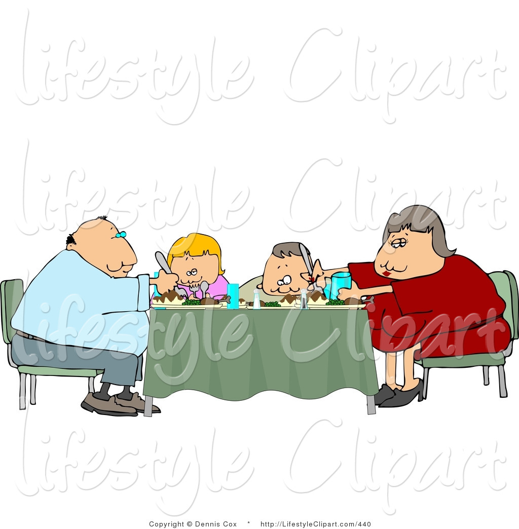 Preview  Lifestyle Clipart Of A Family Sitting And Eating Dinner Meal