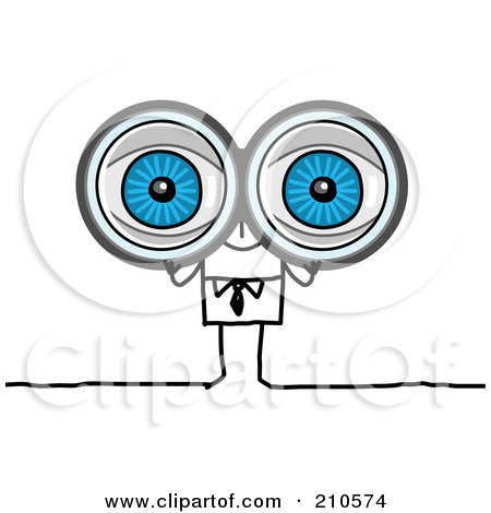 Cartoon kid looking through binoculars