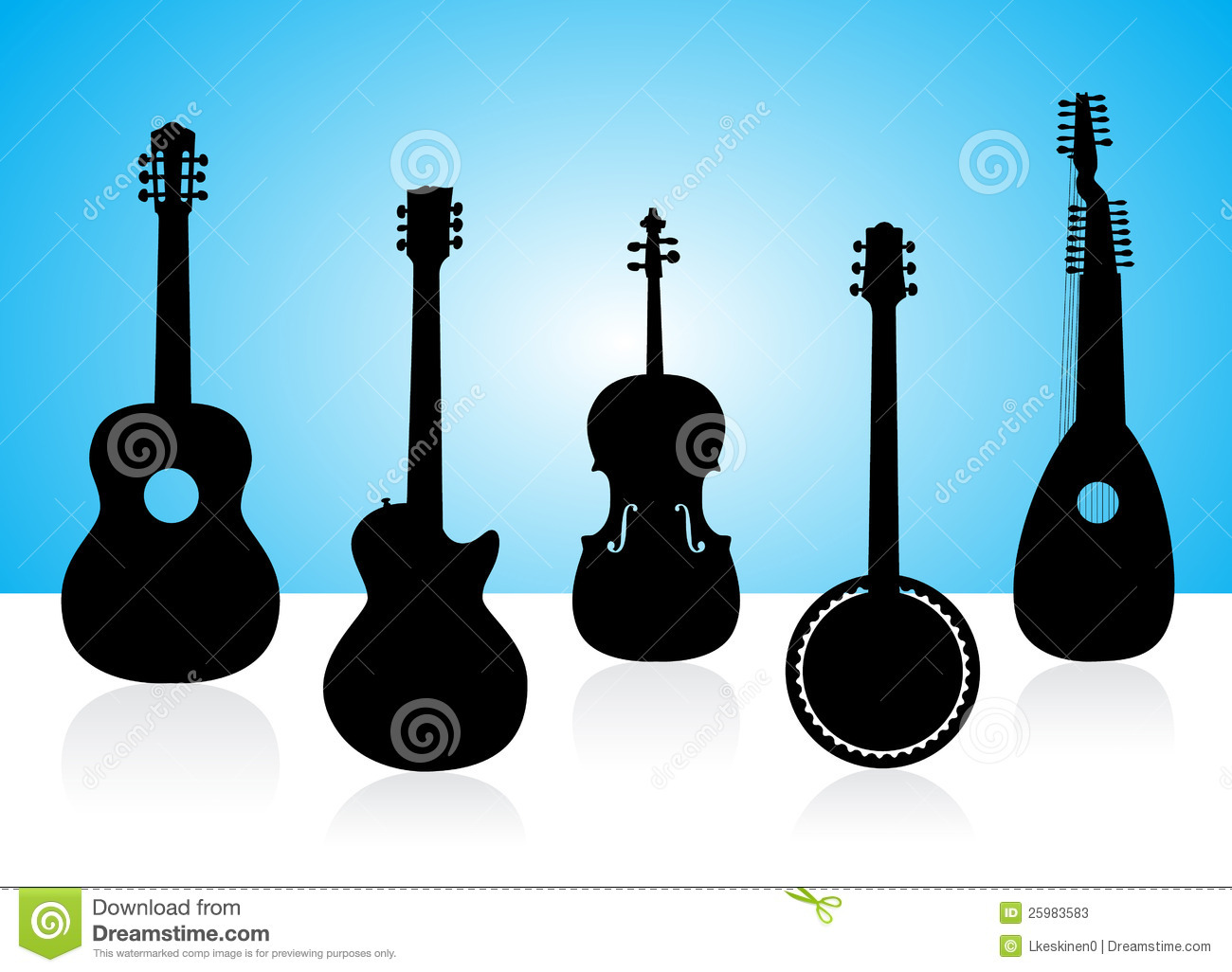 String Instruments Silhouettes Stock Photos   Image  25983583