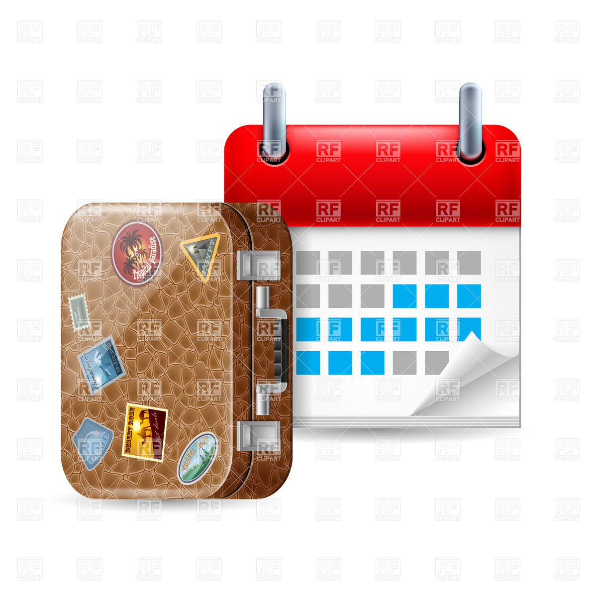 Vacation Icon With Calendar And Leather Suitcase With Stickers Vector