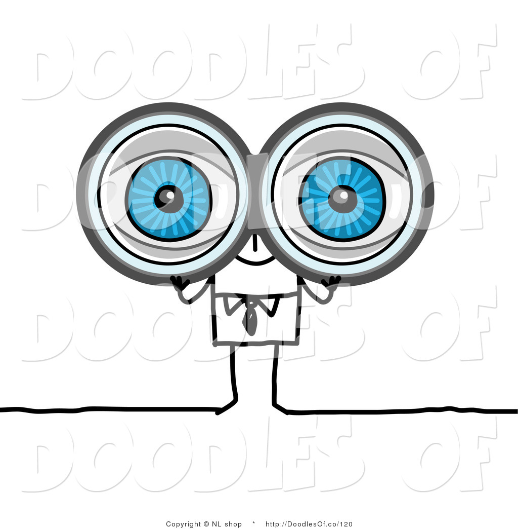 Vector Clipart Of A Big Eyed Stick Person Business Man Looking Through