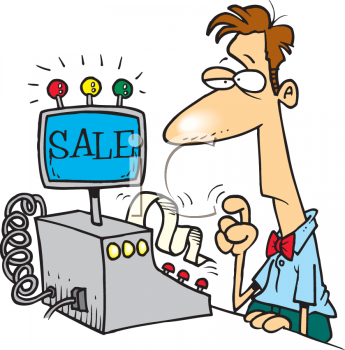 0511 0811 0418 5928 Cartoon Of A Cashier Clipart Image