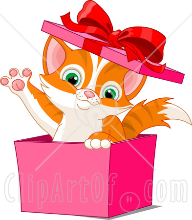 41059 Clipart Illustration Of An Adorable Orange Kitten Popping Out Of