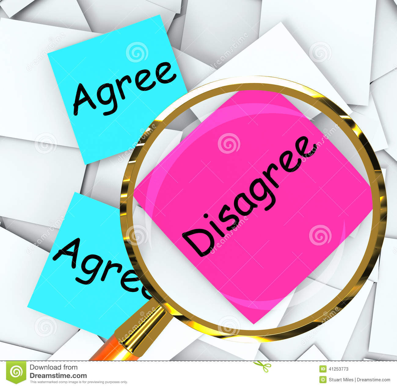 Agree Disagree Post It Papers Meaning Opinion And Point Of View