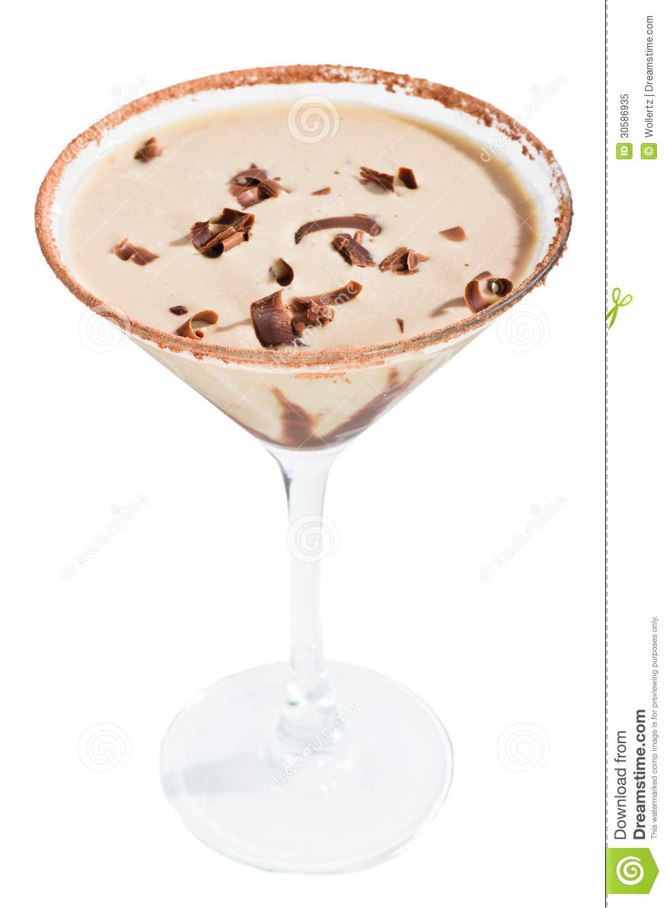 Chocolate Martini Isolated On A White Background With Chocolate Swirl