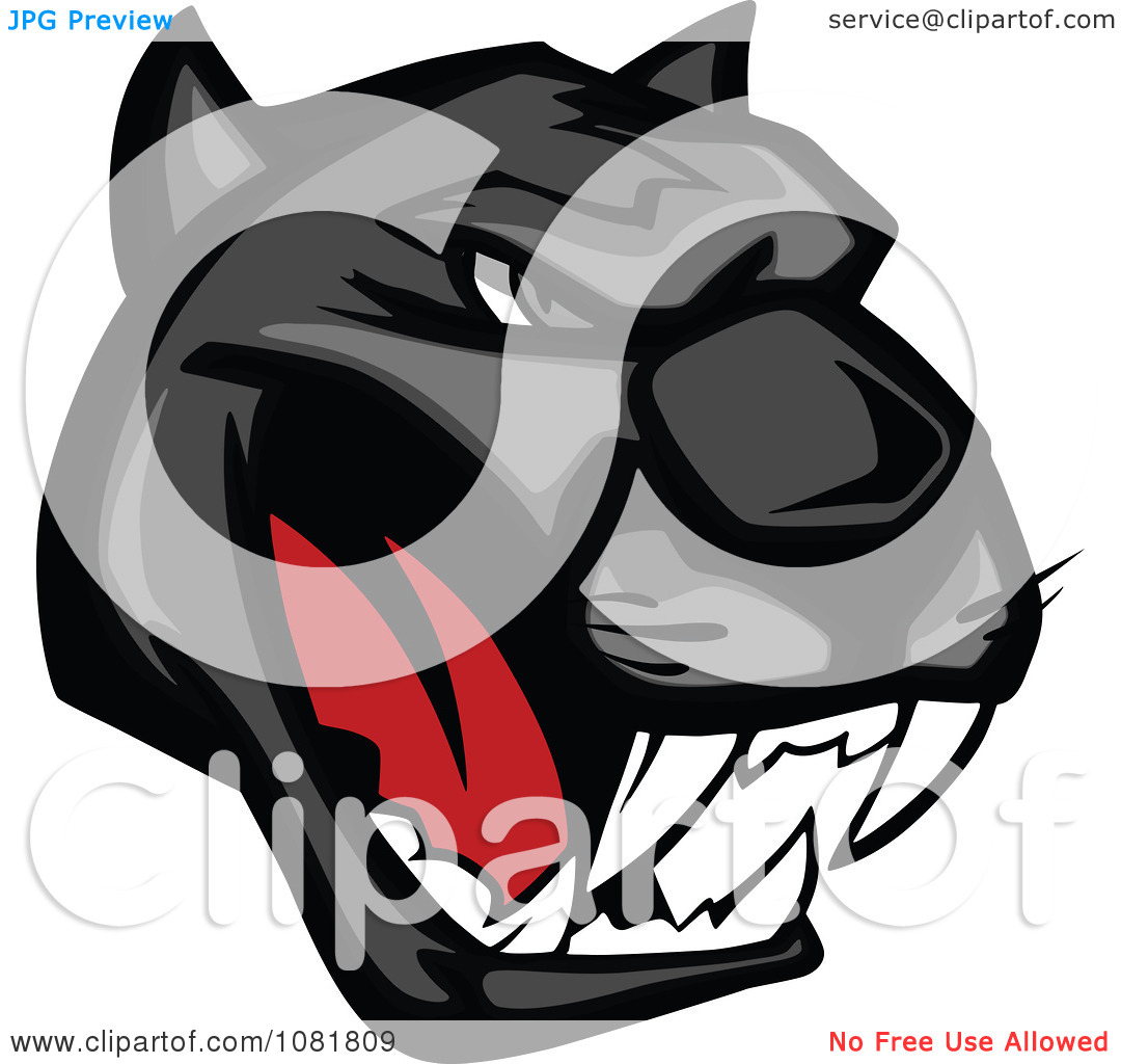 Clipart Fierce Black Panther Face Royalty Free Vector Illustration
