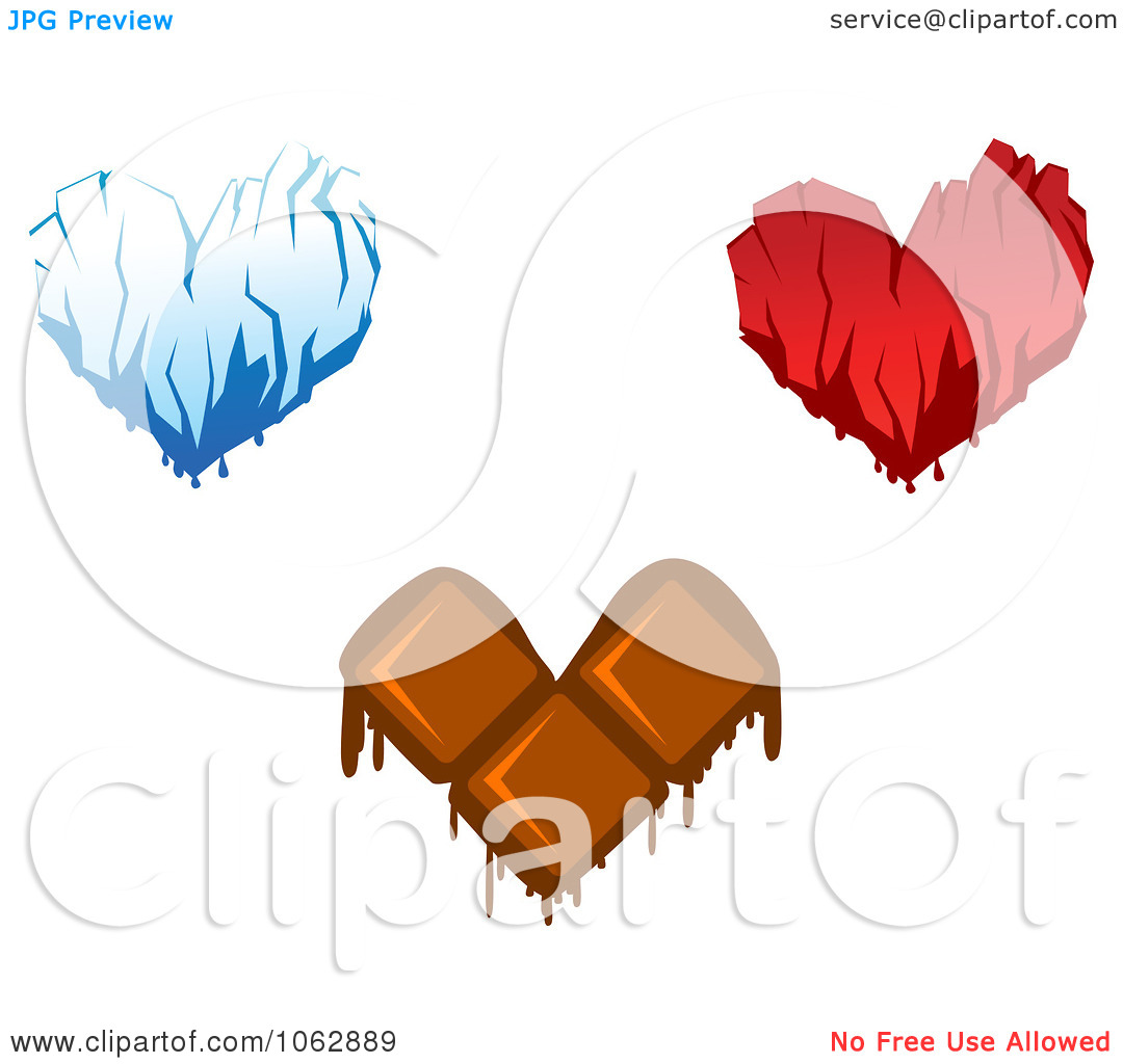 Clipart Ice Blood And Chocolate Hearts Digital Collage   Royalty Free