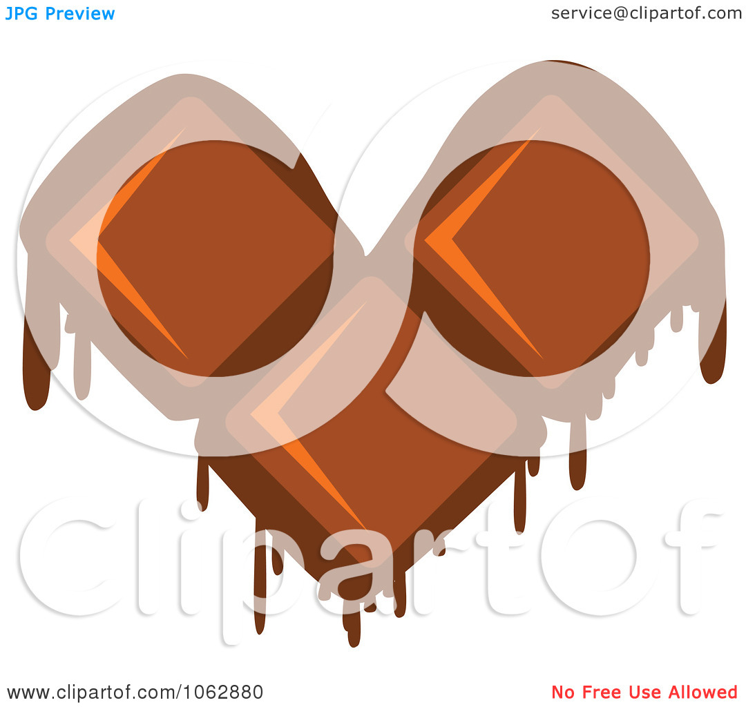 Clipart Melting Chocolate Heart   Royalty Free Vector Illustration By