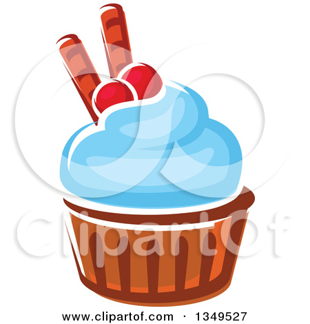 Clipart Of A Cartoon Cupcake With Chocolate Chips   Royalty Free