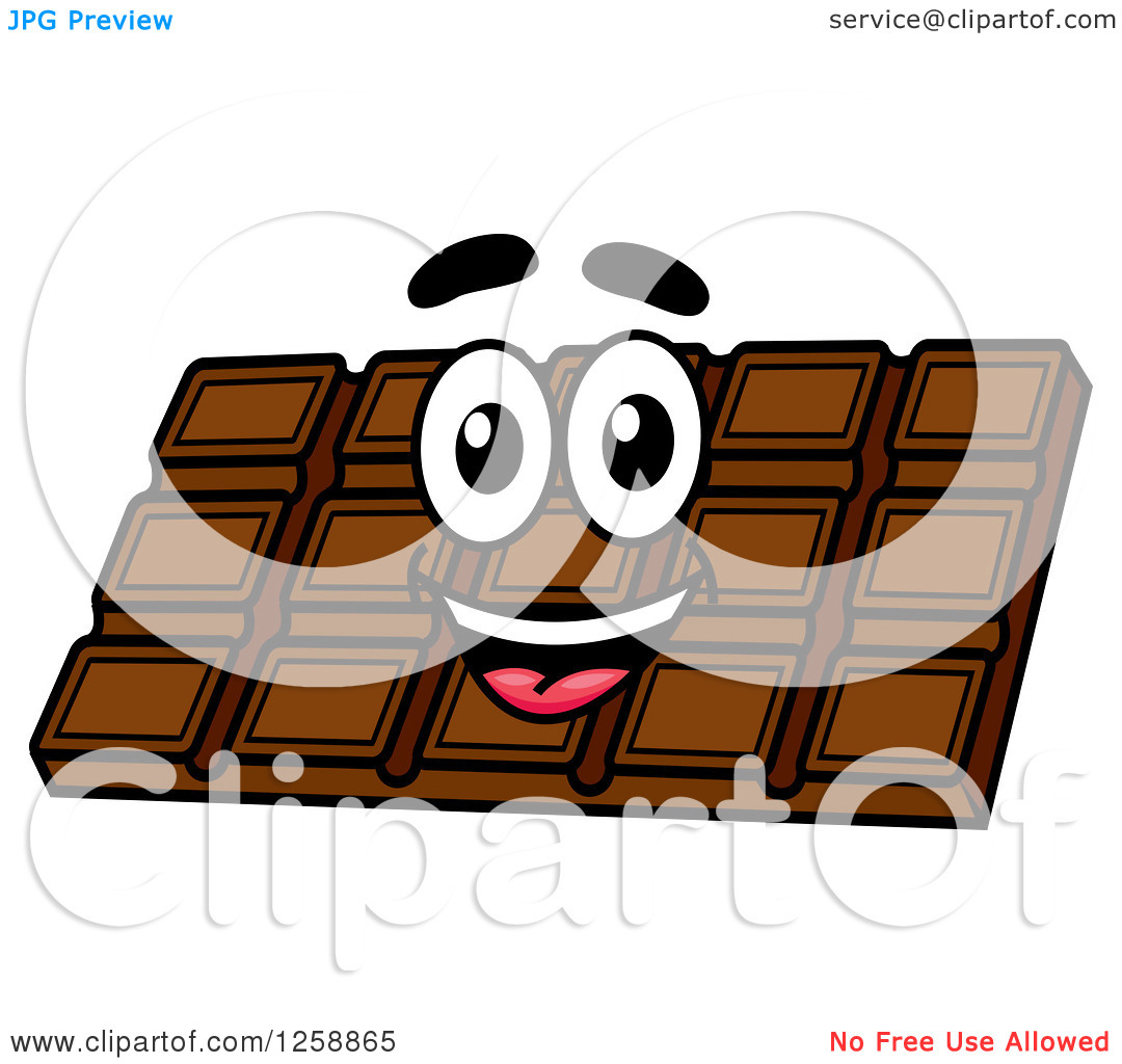 Clipart Of A Happy Chocolate Bar   Royalty Free Vector Illustration By