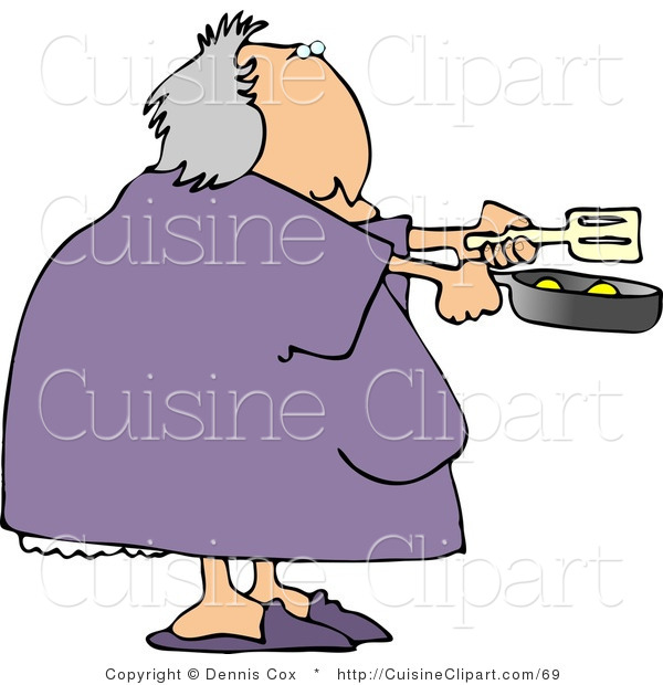 Cuisine Clipart Of A Heavyset Woman Cooking Breakfast Eggs In A