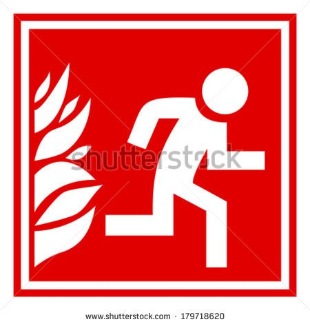 Evacuation Drill Fire Vector Sign Clipart