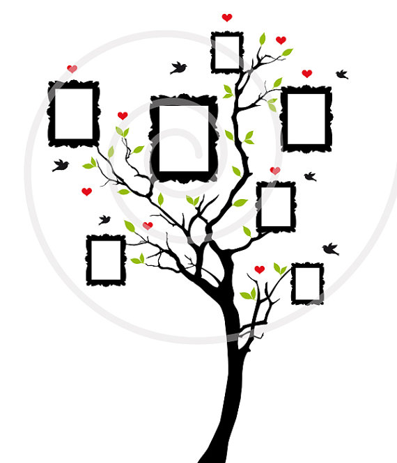Family Tree Blank Vintage Picture Frames Digital Clip Art Clipart