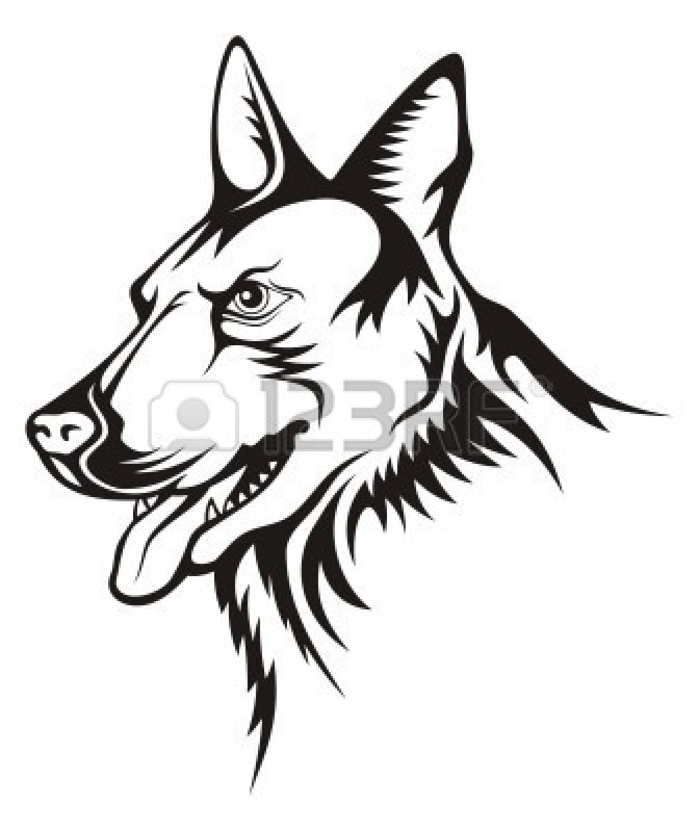 German Shepherd Christmas Dog Clipart Free Tattoo Illustration Of