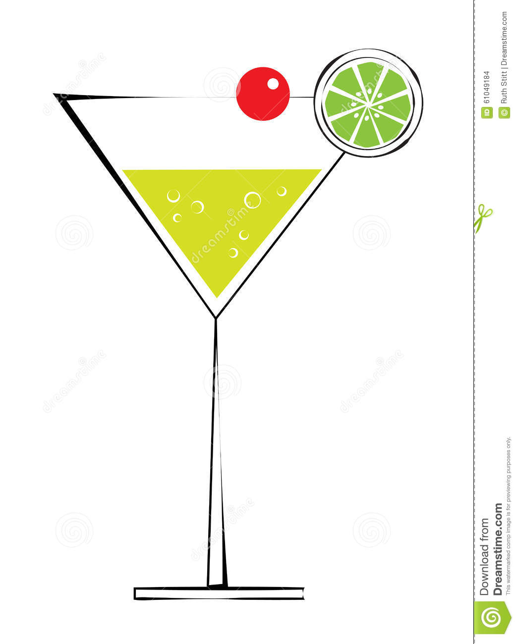 Martini Alcohol Drink With Cherry And Lime