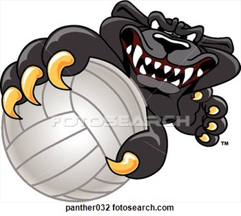 Panther Holding Volleyball With Angry Face Panther032   Search Clipart