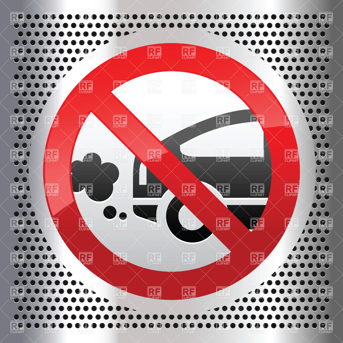 Smoke From Exhaust Tube   No Car Emissions Allowed Sign 17674 Signs