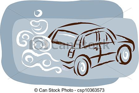 Stock Illustration   A Car And Exhaust Cloud   Stock Illustration
