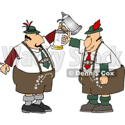 Two German Men With Beer Steins Celebrating Oktoberfest Clipart