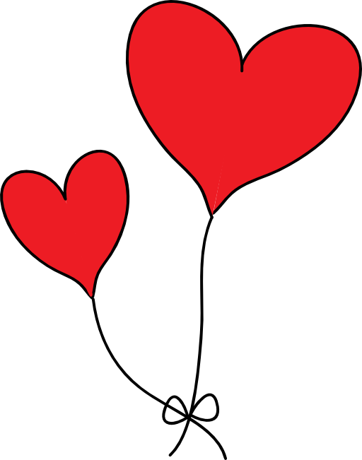 Two Red Heart Balloons Clipart Royalty Free Public