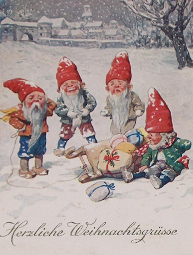 Vintage Christmas Card Graphic Elves With Sled And Toys Herzliche